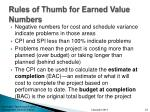 rules of thumb for earned value numbers