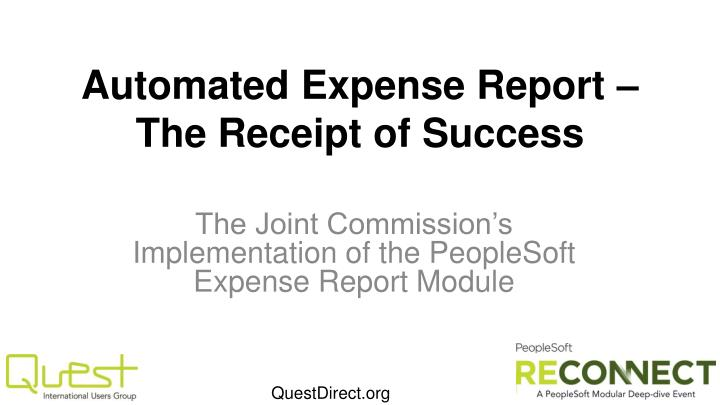 automated expense report the receipt of success n.