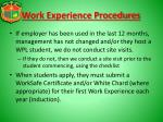 work experience procedures1