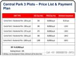 central park 3 plots price list payment plan