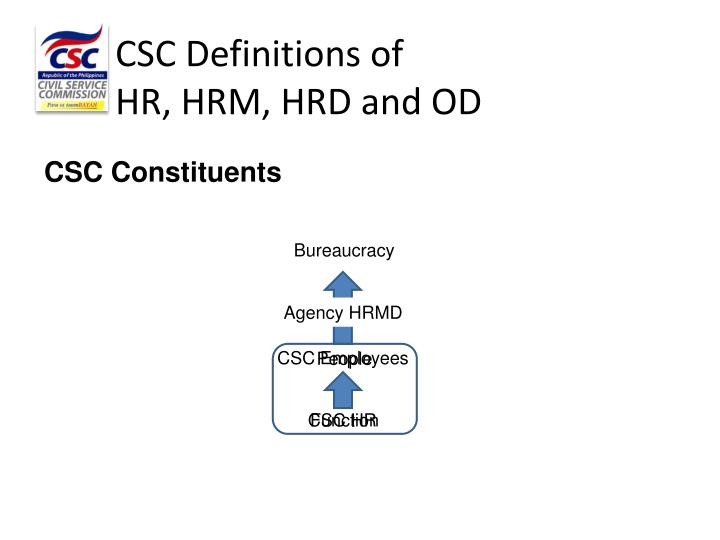 Csc definitions of hr hrm hrd and od1