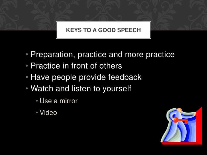 Keys to a good Speech