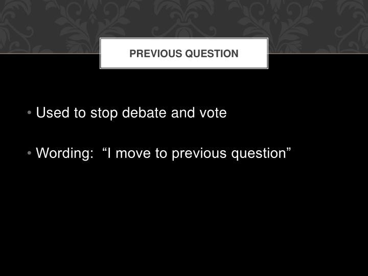 Previous question