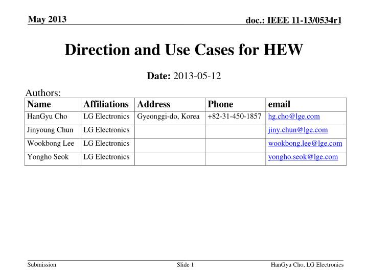 direction and use cases for hew n.