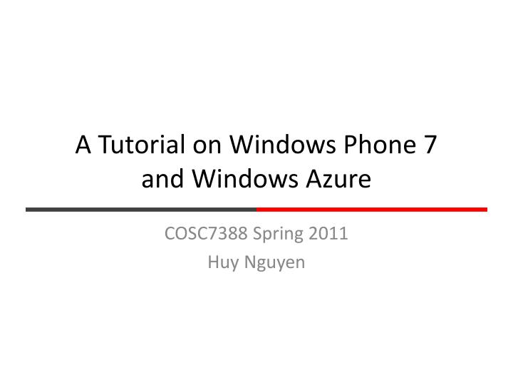 a tutorial on windows phone 7 and windows azure n.
