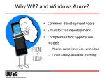 why wp7 and windows azure