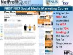 first nicf social media marketing course