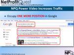 npq power video increases traffic1
