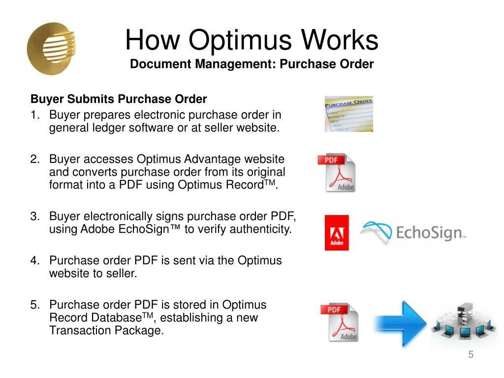 PPT - Optimus Advantage TM Secure Document Management Business