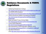 guidance documents ferpa regulations