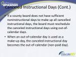 canceled instructional days cont