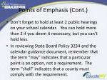 points of emphasis cont