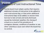 recovery of lost instructional time