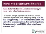 themes from school nutrition directors
