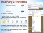 modifying a transition