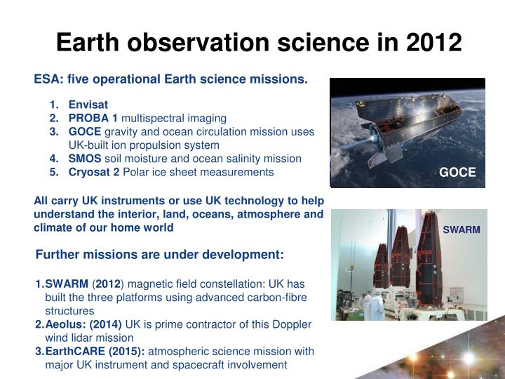 ESA: five operational Earth science missions.