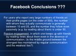 facebook conclusions