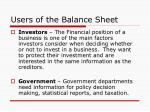 users of the balance sheet1