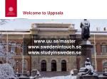 welcome to uppsala