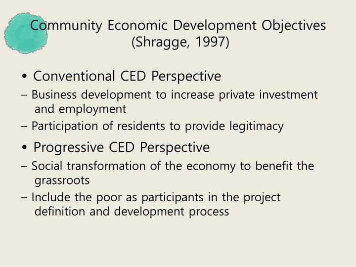 Community Economic Development Objectives
