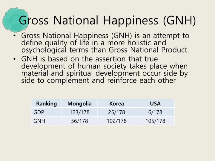Gross National Happiness (GNH)