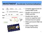 investment accelerate commercialization