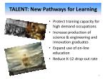 talent new pathways for learning