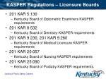 kasper regulations licensure boards