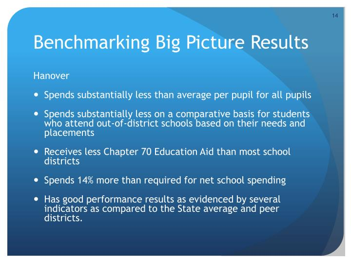 Benchmarking Big Picture Results