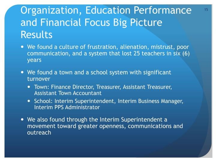Organization, Education Performance and Financial Focus Big Picture Results