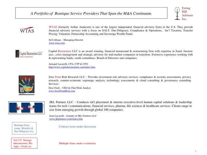 a portfolio of boutique service providers that span the m a continuum n.
