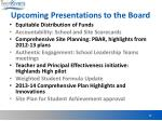 upcoming presentations to the board