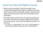 control your data with rightfax connect