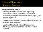 lesson objectives socratic seminar