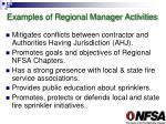 examples of regional manager activities