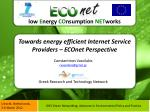 towards energy efficient internet service providers econet perspective