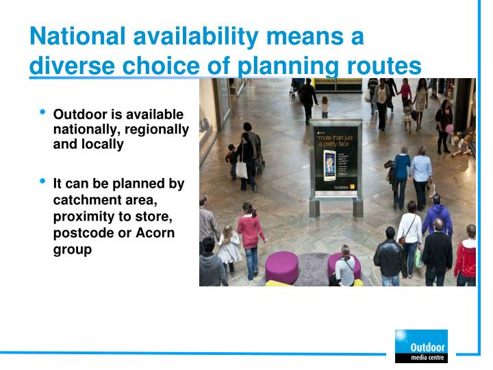 National availability means a diverse choice of planning routes