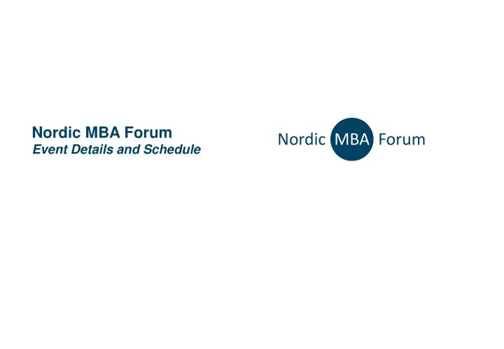 nordic mba forum event details and schedule n.