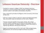 lebanese american university overview