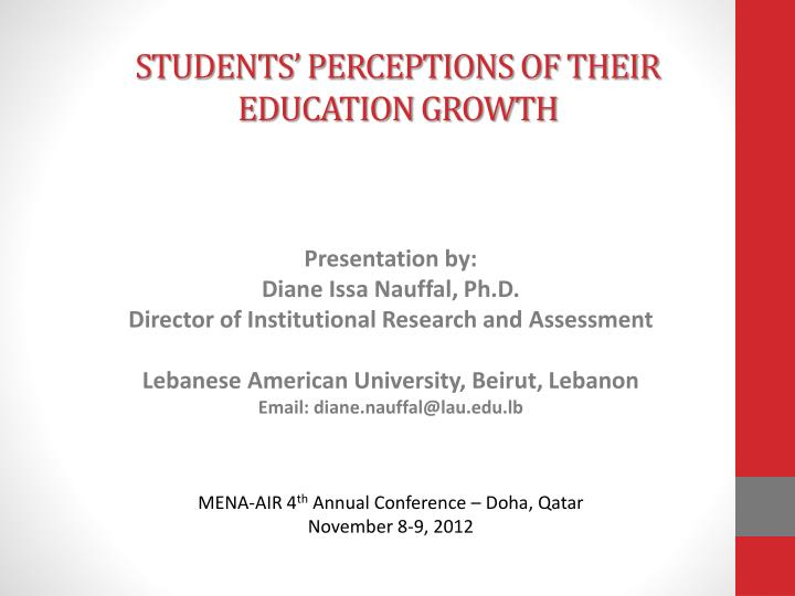 students perceptions of their education growth n.