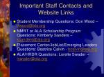important staff contacts and website links