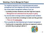 selecting a tool to manage the project