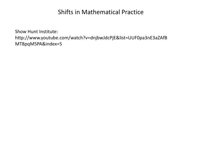 Shifts in Mathematical Practice