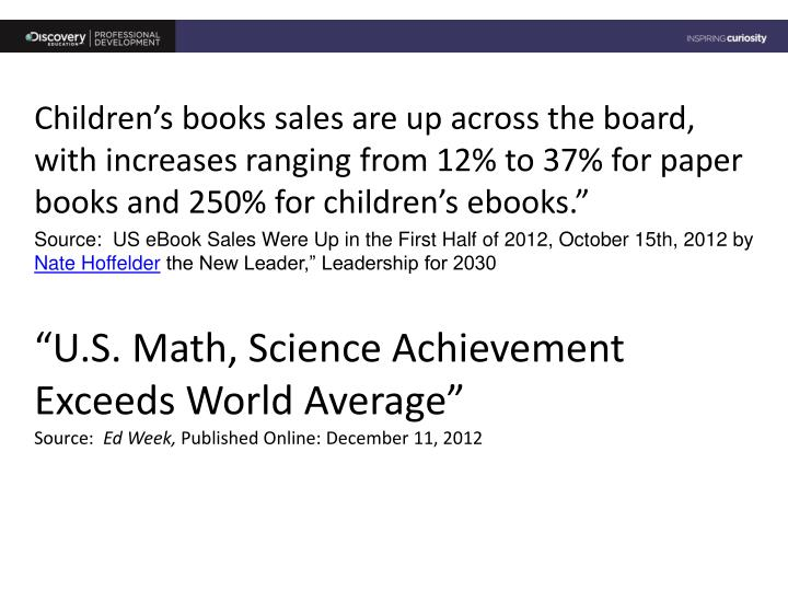 Children's books sales are up across the board, with increases ranging from 12% to 37% for paper books and 250% for children's