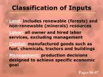 classification of inputs
