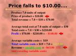 price falls to 10 001