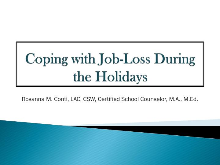 coping with job loss during the holidays n.