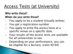 access tests at university