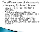 the different parts of a learnership like going for driver s licence