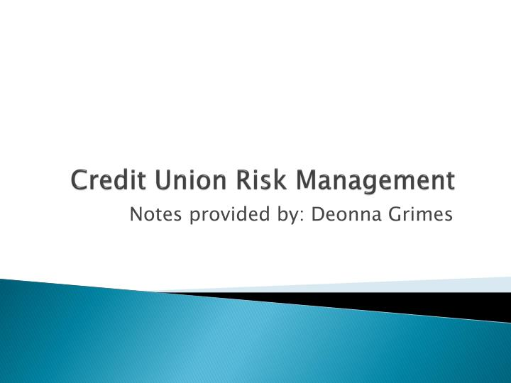 credit union risk management n.